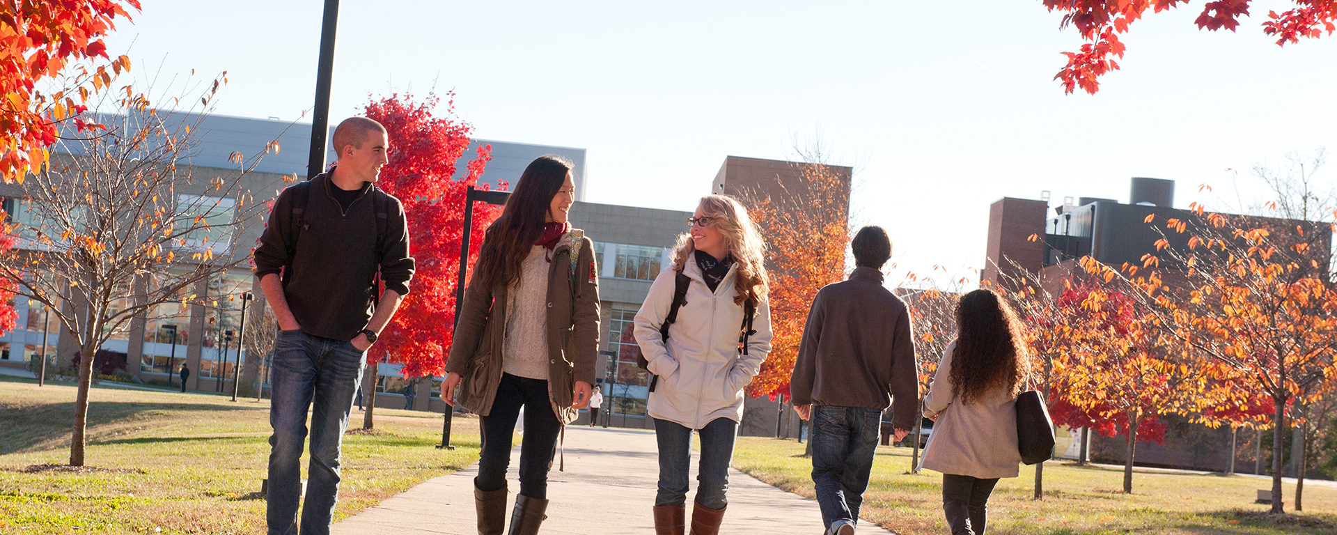 people on campus in autumn