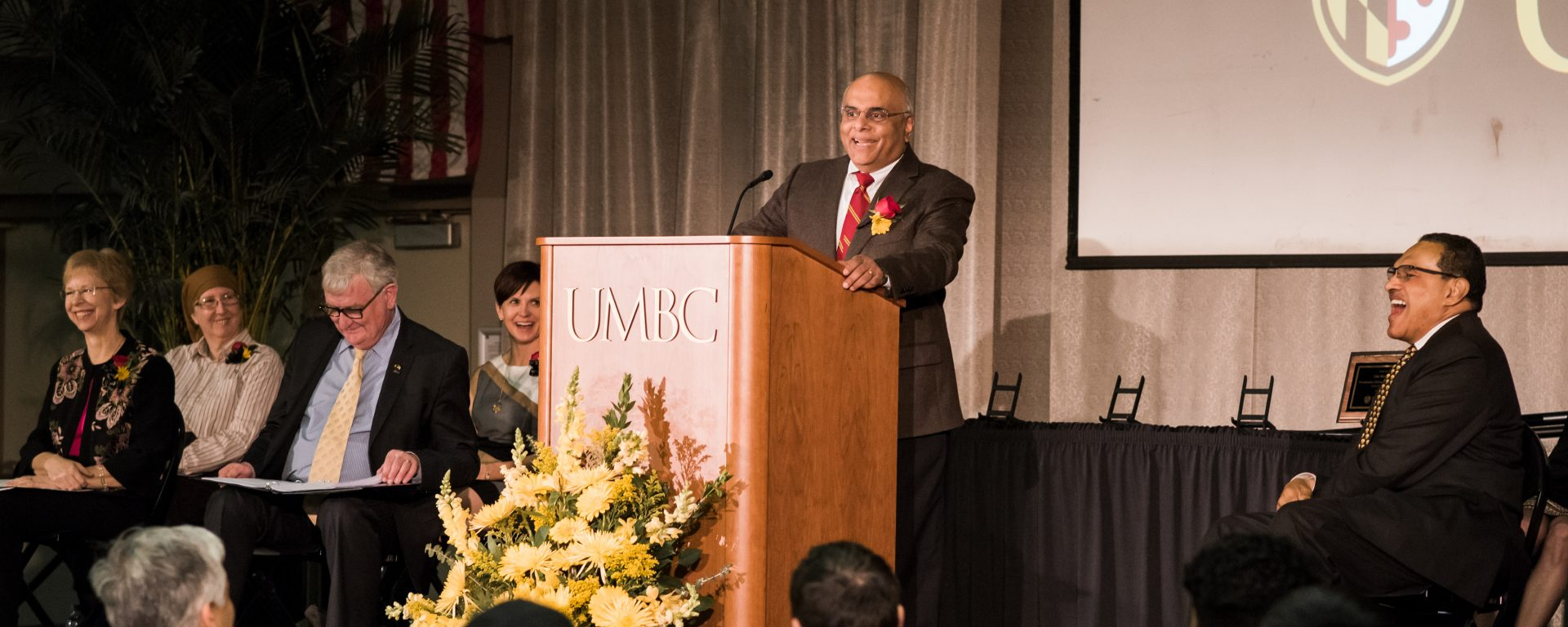 Govind Rao speaking during the Presidential Faculty and Staff Award event.